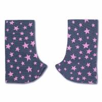 MaMo Gurtschoner Webstoff rosa Sterne auf grau