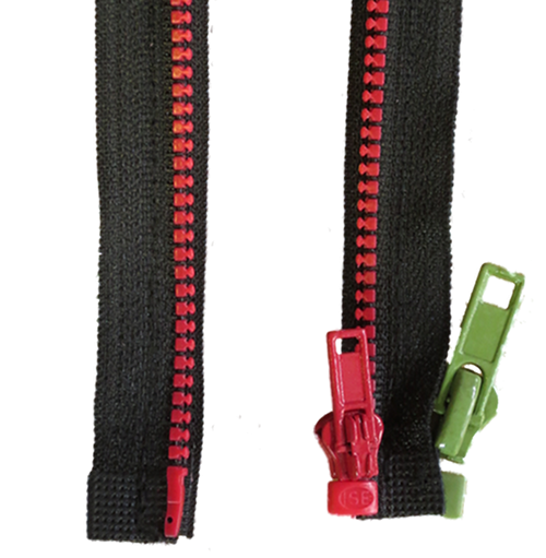 grüne jacke mit rotem reißverschluss